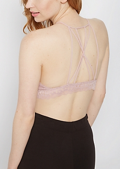 Dusty Pink Daisy Lace Caged Bralette