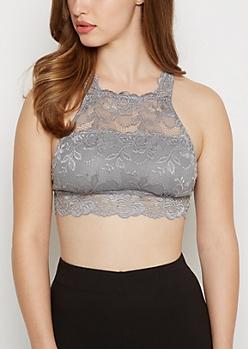 Gray High Neck Lace Bralette