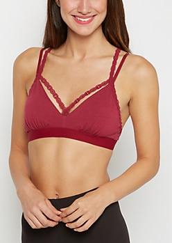 Burgundy Lace Caged Knit Bralette