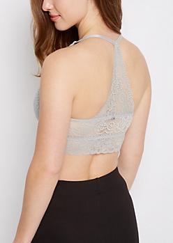 Gray Lace Racerback Bralette