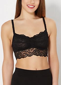 Black Semi-Sheer Lace Bralette