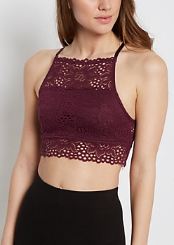 Plum Lace High Neck Bralette