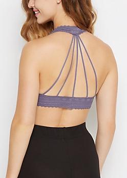 Lavender Lace Caged Halter Bralette