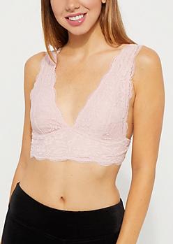 Pink Daisy Lace Longline Bralette
