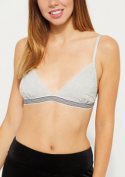 Gray Lace Striped Band Bralette