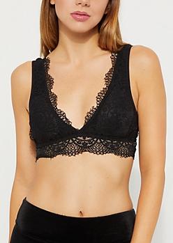 Black Flower Lace Longline Bralette