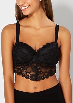 Black Lacy Longline Bralette