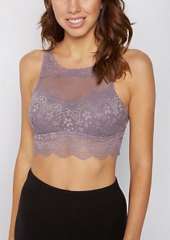 Violet Crochet Mesh High Neck Bralette