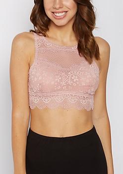 Pink Crochet Mesh High Neck Bralette