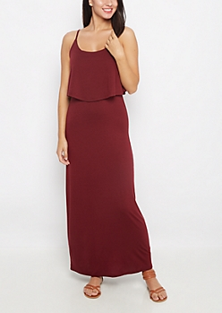 Burgundy Popover Maxi Dress