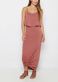 Burnt Orange Popover Maxi Dress