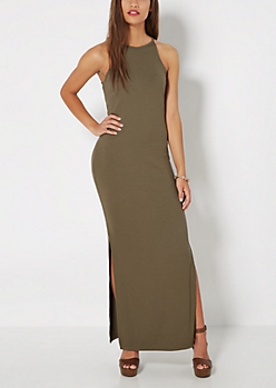 Olive Ribbed High Neck Maxi Dress