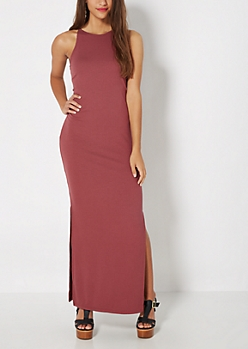 Light Purple Ribbed High Neck Maxi Dress