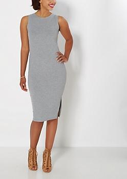 Gray Ribbed Tank Dress
