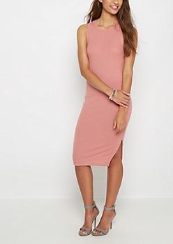 Pink Ribbed Tank Dress