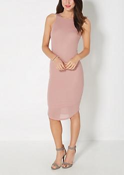 Mauve Ribbed Midi Dress