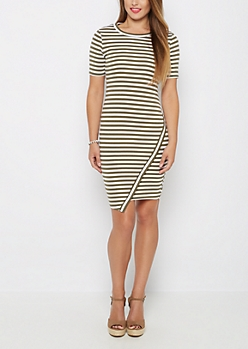 Olive Striped Asymmetrically Cut Dress
