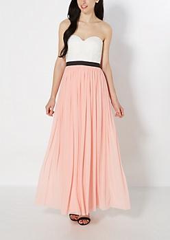 Lace Bustier Mesh Maxi Dress