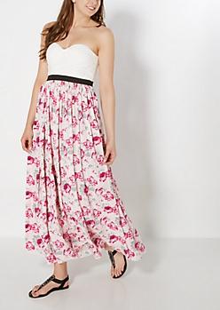 Lace Bustier Floral Maxi Dress