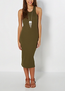 Olive Ribbed Racerback Midi Dress