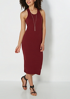 Burgundy Ribbed Racerback Midi Dress