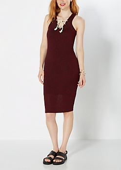 Burgundy Lace Front Ribbed Tank Dress