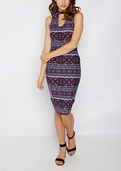 Aztec Keyhole Tank Midi Dress