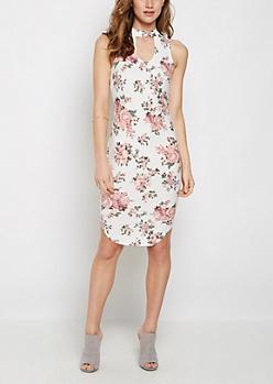 Floral Keyhole Tank Midi Dress