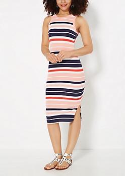 Coral Striped Bodycon Dress