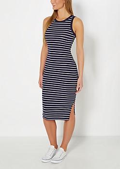 Navy Striped Ribbed Midi Dress