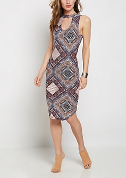 Bohemian Keyhole Bodycon Dress