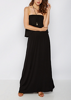 Black Flounced Off-Shoulder Maxi Dress & Necklace
