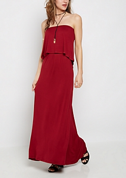 Burgundy Flounced Off-Shoulder Maxi Dress & Necklace