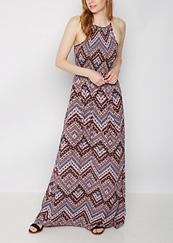 Boho Paisley Smocked Maxi Dress