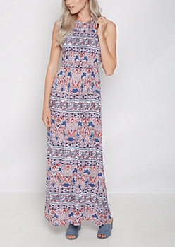Boho Paisley Paneled Smocked Maxi Dress