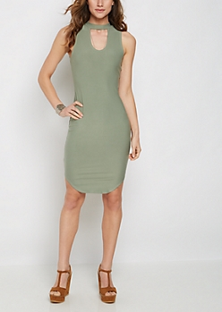 Olive Keyhole Tank Midi Dress