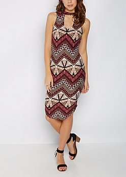 Tribal Geo Keyhole Tank Midi Dress