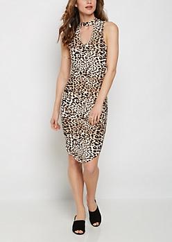 Leopard Keyhole Bodycon Dress