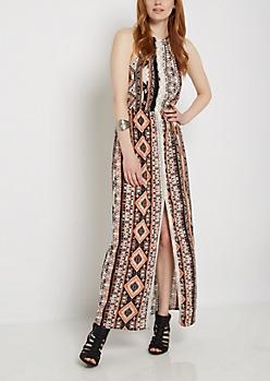 Aztec Split Skirt Maxi Dress