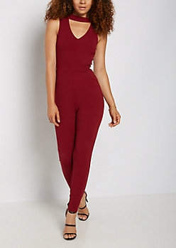 Mock Neck Cutout Jumpsuit