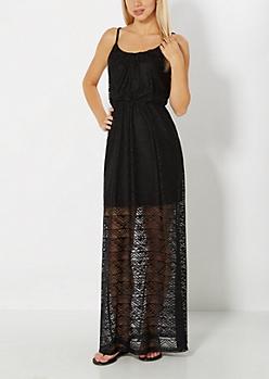 Black Geo Crochet Maxi Dress