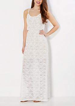 Ivory Geo Crochet Maxi Dress