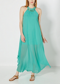Light Green Metallic Arch Maxi Dress
