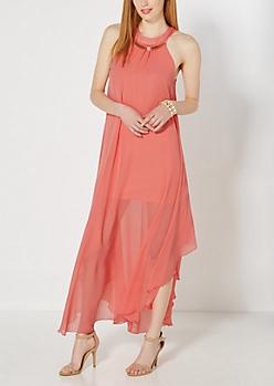 Coral Metallic Arch Maxi Dress