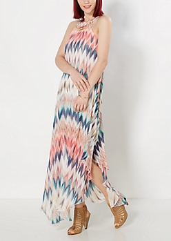 Coral Streak High Neck Maxi Dress
