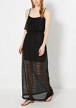 Black Chevron Popover Maxi Dress