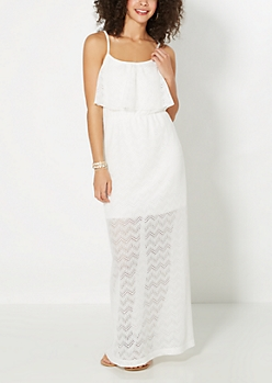 Ivory Chevron Popover Maxi Dress