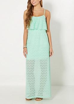 Mint Chevron Popover Maxi Dress