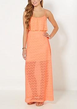 Neon Orange Chevron Popover Maxi Dress