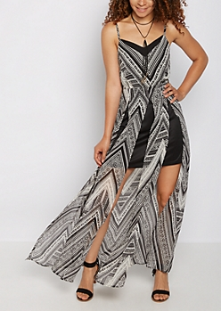 Tribal Split Seam Maxi Dress